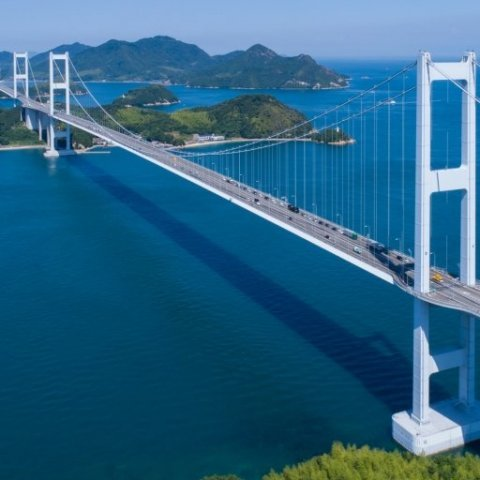 A spectacular drive through the Shimanami Kaido (a highway stretching from Imabari in Ehime to Onomichi in Hiroshima)